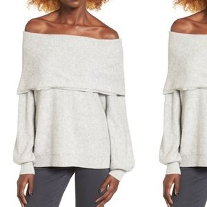 Grey Leith Off Shoulder Sweater.